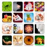 Ansammlung Ikonen für Programme und Spiele Lizenzfreies Stockbild