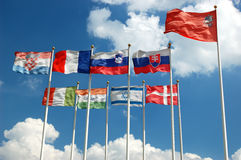Ansammlung internationale Markierungsfahnen Stockfoto