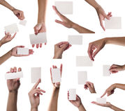 Ansammlung Kartenleerzeichen in einer Hand auf weißem backg Lizenzfreie Stockfotos