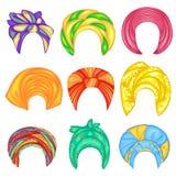 ansammlung Kopfschmuck der Frau s, Turban Heller gestrickter Farbschal Kleidung ist sch?n und stilvoll Set vektorabbildungen stock abbildung