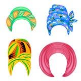 ansammlung Kopfschmuck der Frau s, Turban Heller gestrickter Farbschal Kleidung ist sch?n und stilvoll Set vektorabbildungen lizenzfreie abbildung