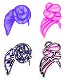 ansammlung Kopfschmuck der Frau s, Turban Heller gestrickter Schal Kleidung ist sch?n und stilvoll Grafisches Bild Satz des Vekto lizenzfreie abbildung