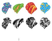ansammlung Kopfschmuck der Frau s, Turban Heller gestrickter Schal Kleidung ist sch?n und stilvoll Grafisches Bild Satz des Vekto stock abbildung