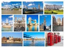 Ansammlung London-Grenzsteine und ikonenhafte Symbole Stockfotografie