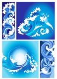 Ansammlung Marinewellen, stilisiert Auslegung stock abbildung