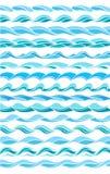 Ansammlung Marinewellen, stilisiert Auslegung vektor abbildung
