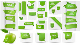 Ansammlung mit Eco etikettiert und Kennsätze und Aufkleber Stockbilder