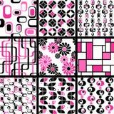 Ansammlung MOD-nahtlose Muster im Rosa Stockfotografie