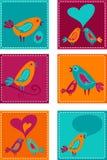 Ansammlung og Grußkarten mit Vögeln Stockfotografie
