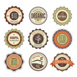 Ansammlung organische Weinlese-Abzeichen stock abbildung