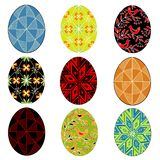 ansammlung Osterei mit gemalter Verzierung Das Symbol von Ostern r Gl?nzendes und glattes Schild und Taste mit den blauen und wei stock abbildung