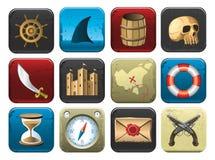 Ansammlung Piraten-Symbole Lizenzfreie Stockfotos