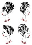 ansammlung Profil einer s??en Dame Auf dem Kopf eines afro-amerikanischen Mädchens ist ein gestrickter Schal, ein Turban Die Frau lizenzfreie abbildung