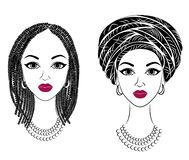 ansammlung Profilieren Sie den Kopf der s??en Dame Afro-amerikanisches M?dchen mit einer sch?nen Frisur Die Dame tr?gt einen Turb vektor abbildung