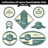 Ansammlung Retro- Nahrungsmittelkennsätze. Fische Lizenzfreie Stockbilder