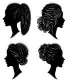 ansammlung Schattenbild des Kopfes einer s??en Dame H?bsches M?dchen zeigt sch?ne weibliche Frisur auf mittlerem und langem Haar  stock abbildung