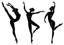 ansammlung Schattenbild einer netten Dame, tanzt sie Ballett Das M?dchen hat eine d?nne sch?ne Zahl Frauenballerina Vektor vektor abbildung