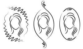 ansammlung Schattenbild einer s??en Dame in einem Rahmen Das M?dchen zeigt eine Frisur auf mittlerem und kurzem Haar Passend f?r  lizenzfreie abbildung