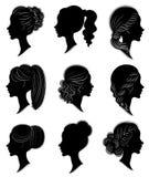 ansammlung Schattenbild eines Kopfes einer s??en Dame in den verschiedenen Rahmen Das M?dchen zeigt eine Frisur der Frau s auf mi lizenzfreie abbildung