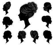 ansammlung Schattenbild eines Kopfes einer s??en Dame in den verschiedenen Rahmen Das M?dchen zeigt eine Frisur der Frau s auf mi vektor abbildung