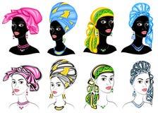 ansammlung Schattenbild eines Kopfes einer s??en Dame Ein heller Schal, ein Turban, gebunden am Kopf eines afro-amerikanischen M? lizenzfreie abbildung