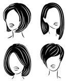 ansammlung Schattenbild eines Kopfes einer s??en Dame Ein Mädchen zeigt eine Frisur einer Frau auf langem, mittlerem und kurzem H stock abbildung
