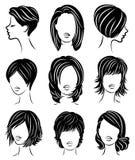 ansammlung Schattenbildprofil eines netten Kopfes Dame s Das M?dchen zeigt ihre Frisur f?r mittleres und langes Haar Passend f?r  lizenzfreie abbildung