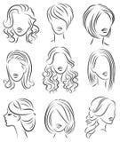 ansammlung Schattenbildprofil eines netten Kopfes Dame s Das M?dchen zeigt ihre Frisur f?r mittleres und langes Haar Passend f?r  vektor abbildung