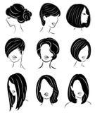 ansammlung Schattenbildprofil eines netten Kopfes Dame s Das M?dchen zeigt ihre Frisur f?r mittleres und langes Haar Passend f?r  stock abbildung