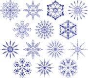 Ansammlung Schneeflocken, Vektor Stockfotos