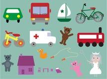 Ansammlung Spielwaren u. Elemente für Kinder Stockfoto