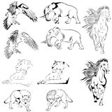 Ansammlung Tatoo Tiere Lizenzfreies Stockfoto