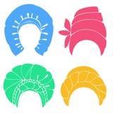 ansammlung Traditioneller nationaler Kopfschmuck, Turban Gestrickter Schal E Grafisches Bild Satz des Vektors lizenzfreie abbildung