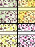 Ansammlung vertikale Retro- Fahnen mit Blumen lizenzfreie abbildung