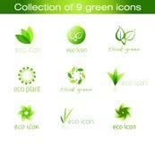 Ansammlung von neun grünen Ikonen Lizenzfreie Stockbilder