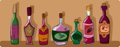 Ansammlung Weinflaschen Stockfotografie