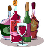 Ansammlung Weinflaschen, Vektor Lizenzfreies Stockfoto
