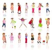 Ansammlungsfotos des netten kleinen Mädchens auf Weiß Lizenzfreie Stockbilder
