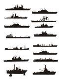 Ansammlungsvektorboots- und -lieferungsumreißen Stockfotografie