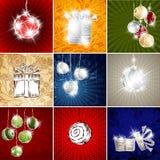 Ansammlungsweihnachtskarten-Spielzeugkasten-Geschenkfeiertag mer Stockfoto