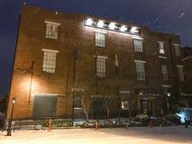 Ansborough Inn, Charleston, South Carolina. The Ansborough Inn during the snowstorm on January 3, 2018 stock photography