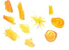 Anschlag des Gouachepinsels lokalisiert auf Weiß Stockfotos