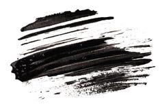 Anschlag (Probe) der schwarzen Wimperntusche Stockbild