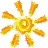 Anschlag-Spritzenfarbe der Kunst lokalisierte dreiste Vektorsonnen-Zusammenfassungshintergrund Stockfotos