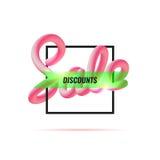 anschlagtafel Fahnen-Verkauf Geometrische Abbildung Mischungsbuchstaben Stockfotografie