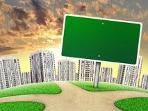 Anschlagtafel gegen Linie von hohen Gebäuden, an Lizenzfreie Stockfotos