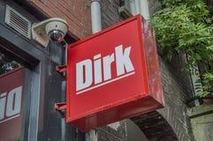 Anschlagtafel von Dirk Supermarket lizenzfreie stockfotografie