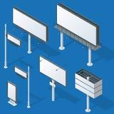 Anschlagtafeln, annoncieren Anschlagtafeln, helle Anschlagtafel der Stadt Flache isometrische Illustration des Vektors 3d für inf Lizenzfreie Stockbilder