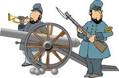 Anschlusssoldaten mit einer Kanone Stockfotos