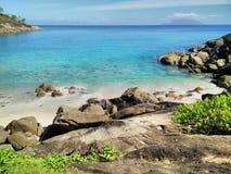 Anse少校海滩在塞舌尔群岛 库存照片